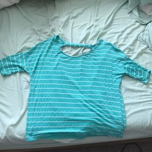 Teal/white striped shirt